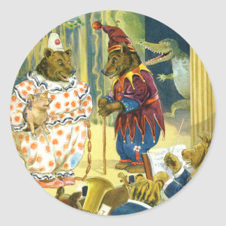 Bears in a Christmas Pageant in Animal Land Classic Round Sticker