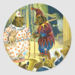 Bears in a Christmas Pageant in Animal Land Round Stickers