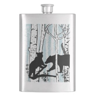 Bears in Birch Forest Customized Initials Flask