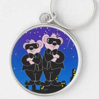 BEARS IN BLACK Button Premium Round Keychain LARGE