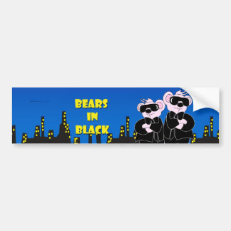 BEARS IN BLACK CARTOON CUTE Bumper Sticker
