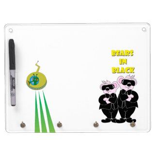 BEARS IN BLACK Keychain holder and Pen (horizontal Dry Erase Board With Keychain Holder