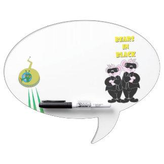 BEARS IN BLACK  Oval Speech Bubble w/ Pen erase B Dry-Erase Board