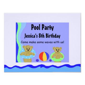 Bears In Floating Tubes Birthday Card