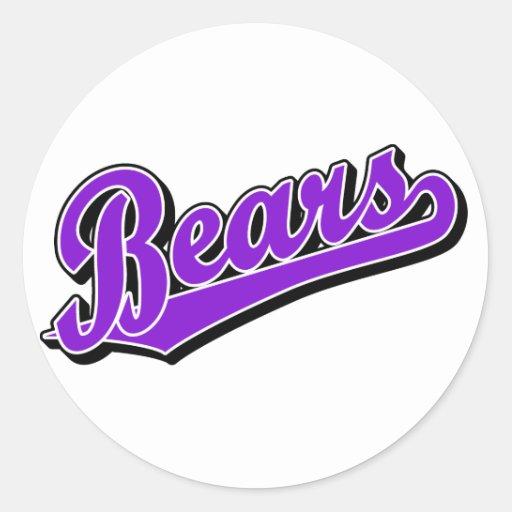 Bears in Purple Classic Round Sticker