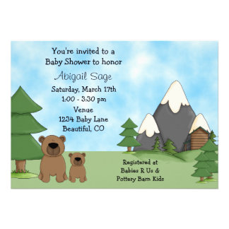 Bears Mountains and Cabin Baby Shower Invitations