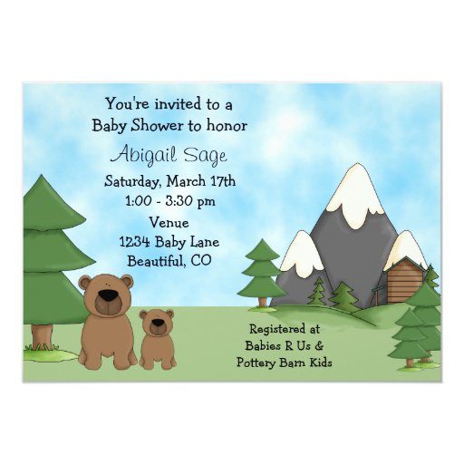 Bears, Mountains and Cabin Baby Shower Invitations