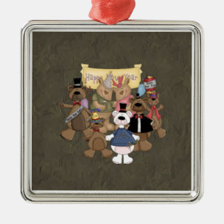 Bears New Years Party Metal Ornament