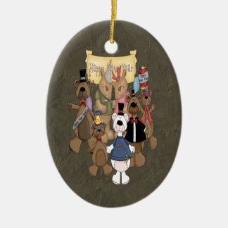 Bears New Years Party Double-Sided Oval Ceramic Christmas Ornament