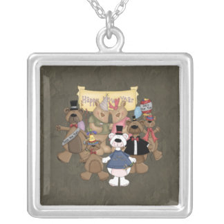 Bears New Years Party Square Pendant Necklace