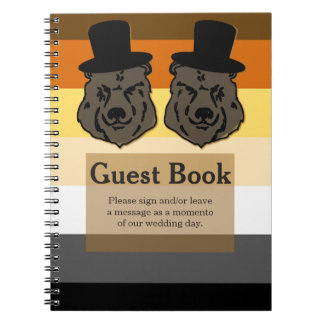 Bears on Bear Flag Gay Wedding Guestbook Notebook