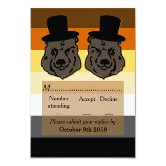 Bears on Bear Flag Gay Wedding RSVP Card
