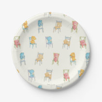 Bears On Chairs Pattern Paper Plate