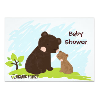 Bears Organic Planet Baby Shower Invitaitons Card