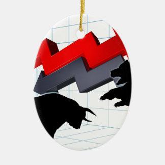 Bears Versus Bulls Stock Market Concept Ceramic Ornament