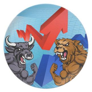 Bears Versus Bulls Stock Market Concept Dinner Plate