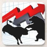 Bears Versus Bulls Stock Market Concept Drink Coaster