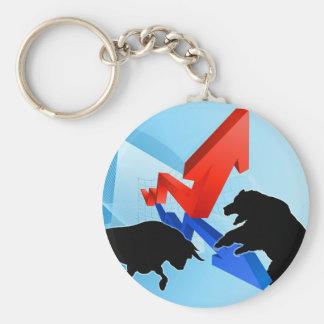 Bears Versus Bulls Stock Market Concept Keychain