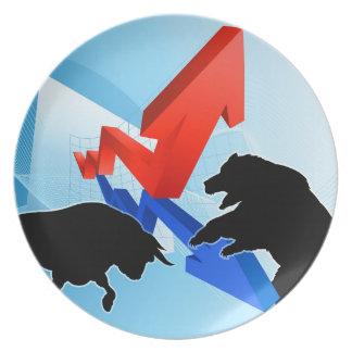 Bears Versus Bulls Stock Market Concept Melamine Plate