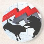 Bears Versus Bulls Stock Market Concept Sandstone Coaster