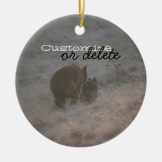 Bears Walking at Sunset; Customizable Double-Sided Ceramic Round Christmas Ornament
