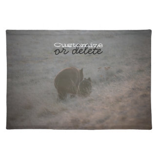Bears Walking at Sunset; Customizable Cloth Placemat
