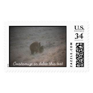 Bears Walking at Sunset; Customizable Postage