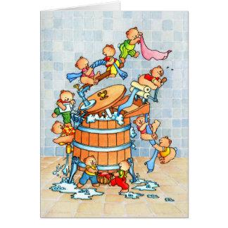 Bears & Washing Tub - Children's Greeting Card