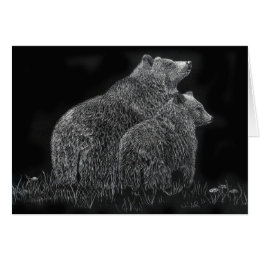 Bears Wildlife Animal Scratchboard Art Blank Card