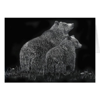 Bears Wildlife Animal Scratchboard Art Blank Card