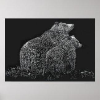 Bears Wildlife Nature Drawing Black White Poster