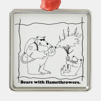 Bears with flamethrowers metal ornament