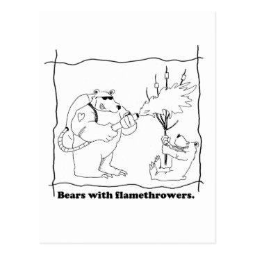 flamethrowers Bears with flamethrowers postcard