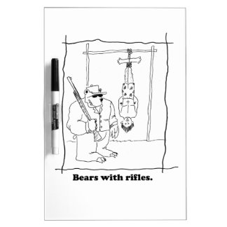 Bears with rifles dry erase board