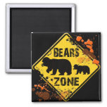 BEARS ZONE ROAD SIGN 2 INCH SQUARE MAGNET