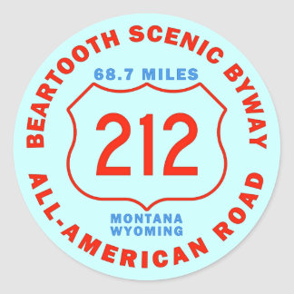 Beartooth Scenic Byway All American Road Round Stickers