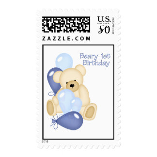 Beary 1st BIrthday (BOY) Postage