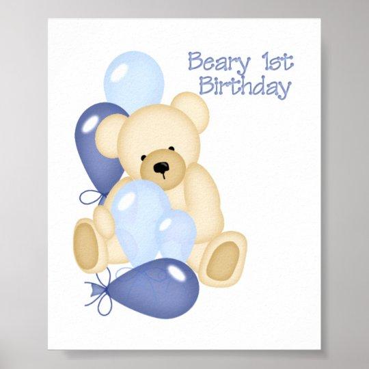 Beary 1st BIrthday (BOY) Poster