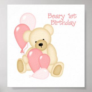 Beary 1st BIrthday (GIRL) Poster