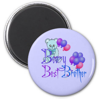 Beary Best Brother 2 Inch Round Magnet