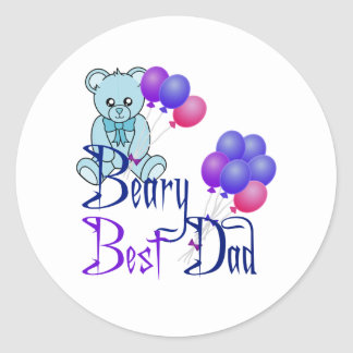 Beary Best Dad Classic Round Sticker