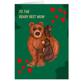 Beary Best Mom - For Mother Card