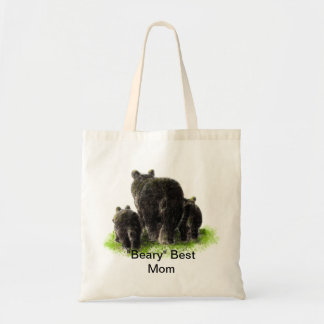 """Beary"" Best Mom Humor with watercolor Black Bears Tote Bag"