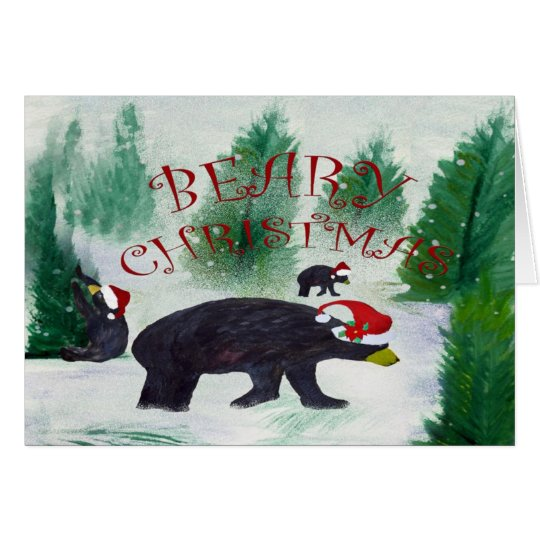 Beary Black Bear Christmas Greeting Card Zazzle