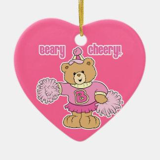 Beary Cheery Cheerleading Bear Ceramic Ornament