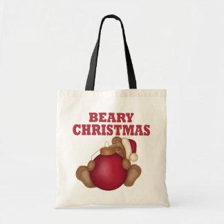 Beary Christmas Bear Canvas Bags