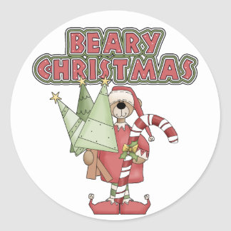 Beary Christmas Bear Classic Round Sticker