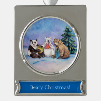 Beary Christmas Bears Custom Holiday Ornaments Silver Plated Banner Ornament
