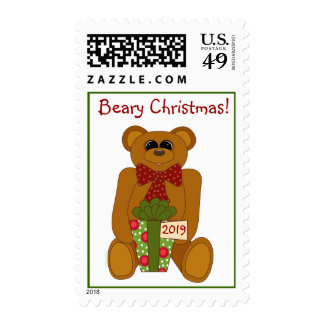 Beary Christmas Cute Brown Teddy Bear Postage Stamps