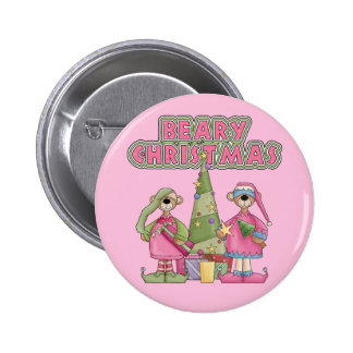 Beary Christmas Pink Button